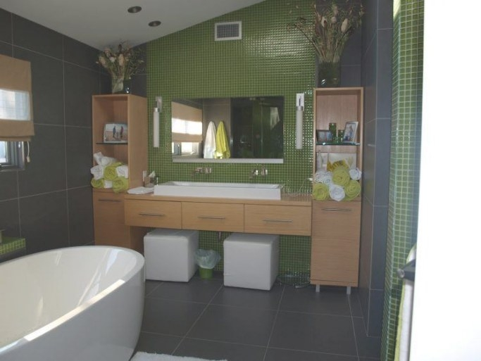 Ten Green Bathrooms That Look Stunning intended for Green And Gray Bathroom