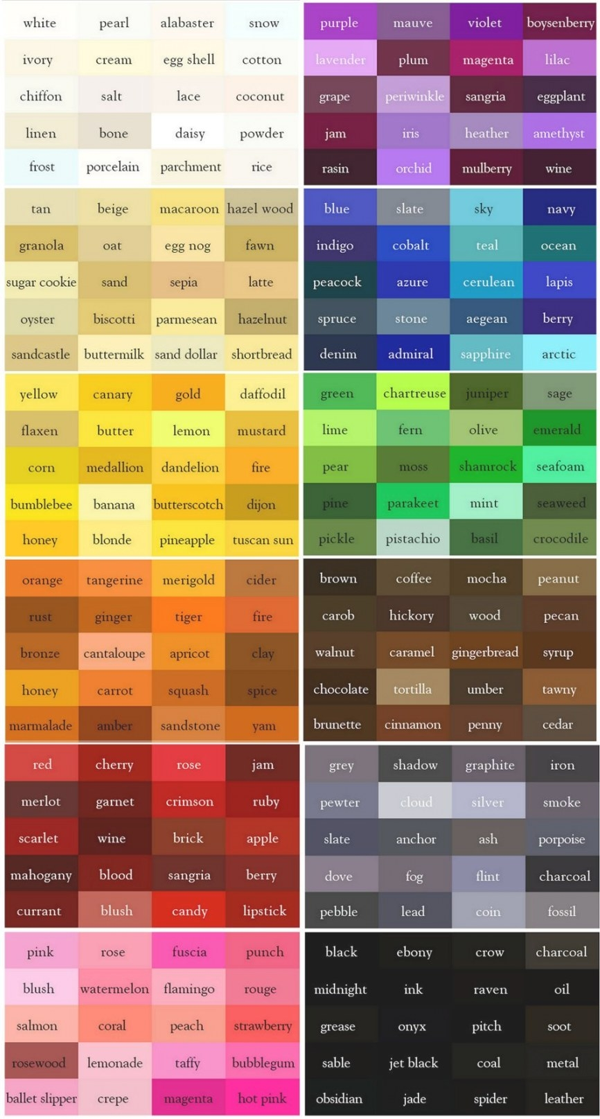 The Color Thesaurus For Writers And Designers From Ingrid for What Colors Go With Purple