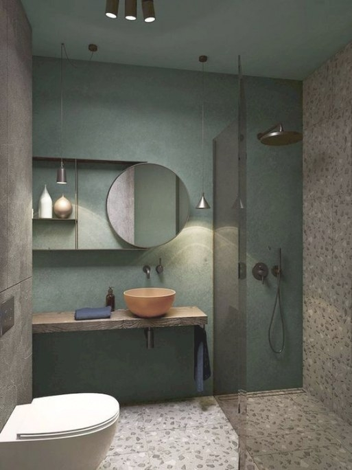 The Pretty And Gorgeous Modern Green Bathrooms | Decohoms in Green And Gray Bathroom