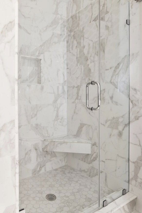 This Walk-In Shower In The Master Bath Features Glazed for What Size Tiles For Small Bathroom