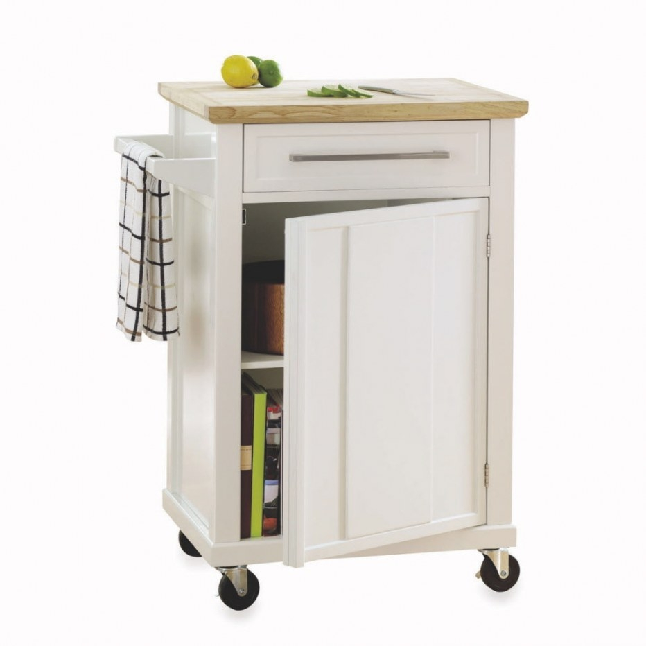 Three Wood-Topped Kitchen Carts On Casters In Budget throughout S&W Kitchens