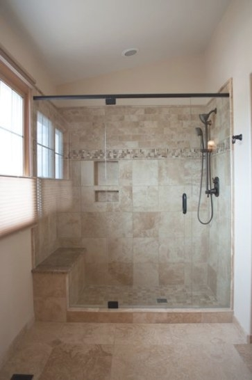 Tile+Showers+With+Bench+And+Shelves |  Tile, Moen throughout Walk In Shower With Bench