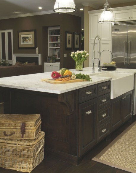 Traditional Dark Wood Kitchen Island With Farmhouse Sink in Kitchen Island With Sink