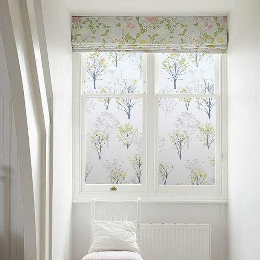 Trees Window Film Privacy Bathroom Window Decor Diy throughout Small Privacy Window Bathrooms
