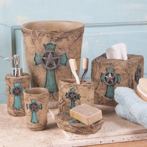 Turquoise Cross Bath Collection with regard to Turquoise And Brown Bathroom