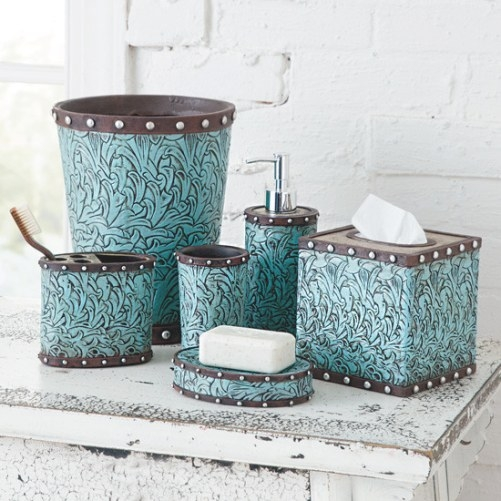 Turquoise Flower Bath Collection within Turquoise And Brown Bathroom