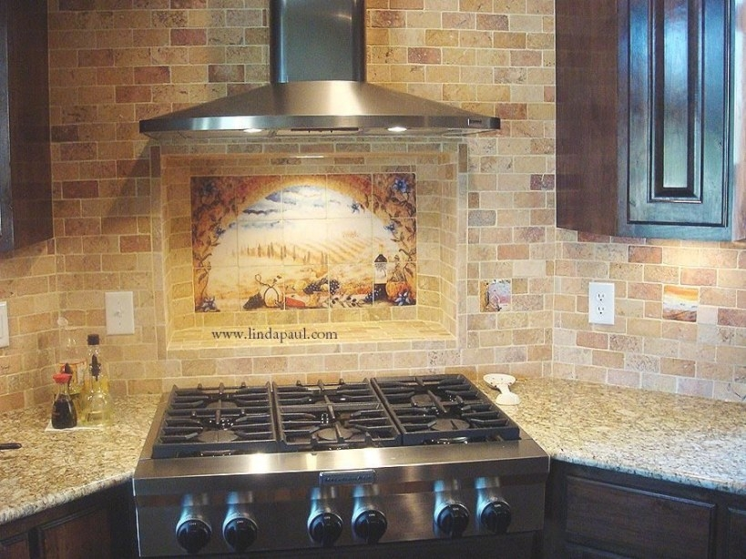 Tuscany Arch Tile Mural Backsplash | Mediterranean Kitchen for Italian Tile Backsplash Kitchens