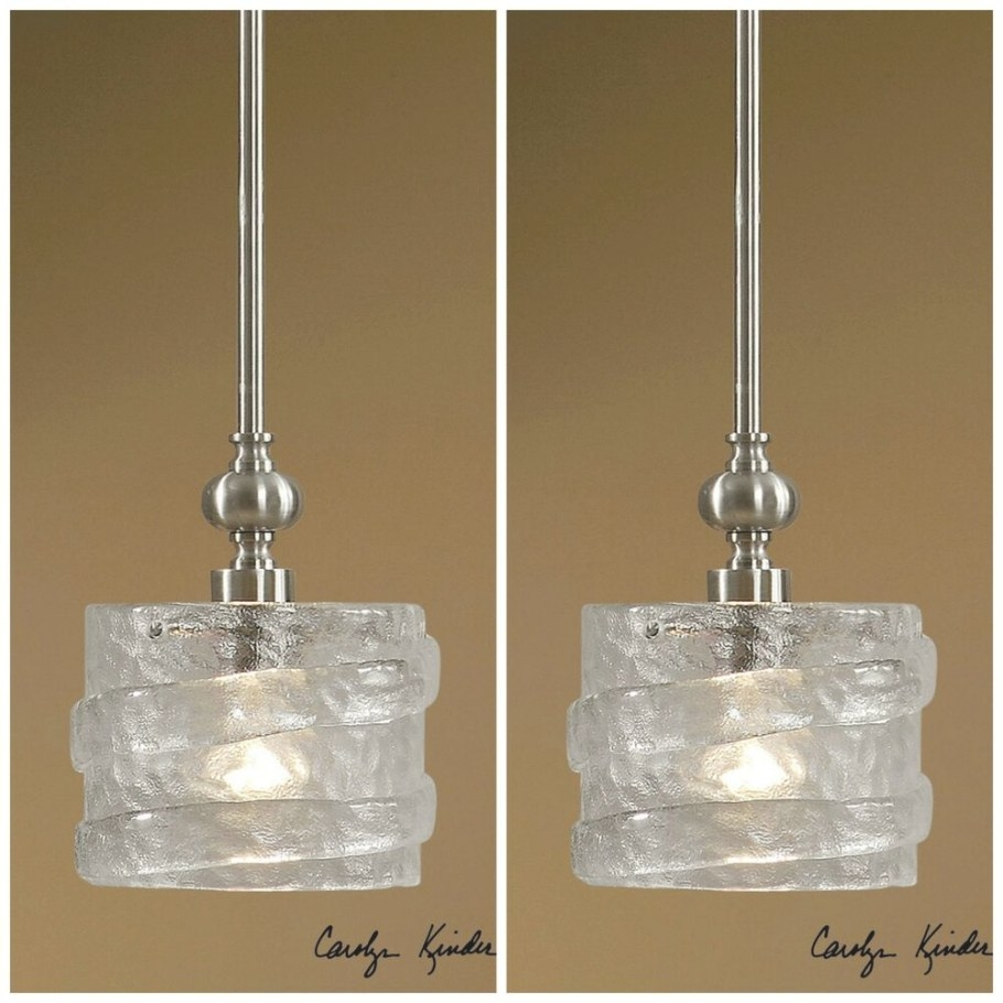 Two Mini Seeded Glass Hanging Pendant Lights Silver regarding Seeded Glass Pendant Light