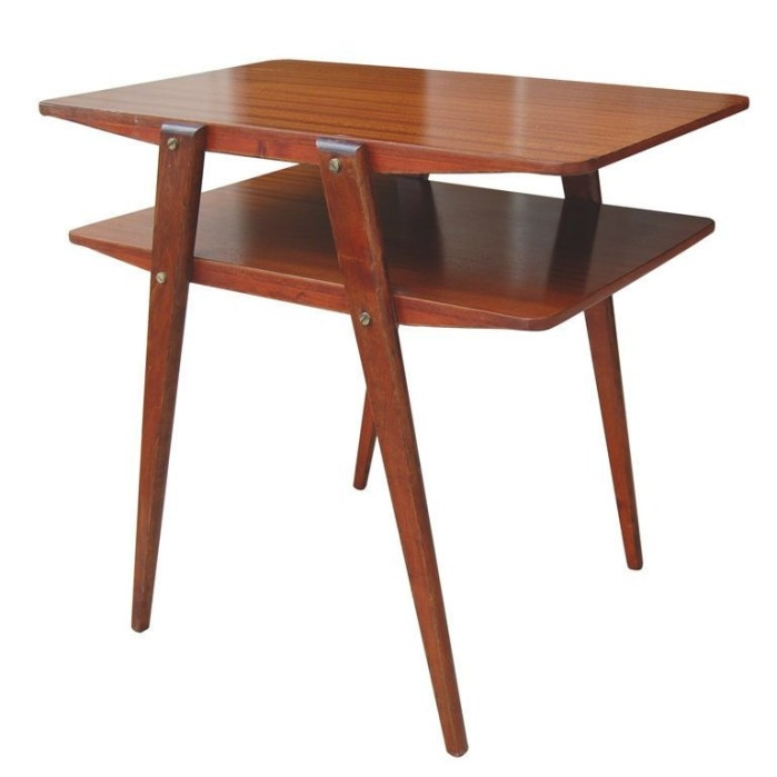 Two-Tier Mid-Century Modern End Table In Ribbon Mahogany in Mid Century Modern Side Table
