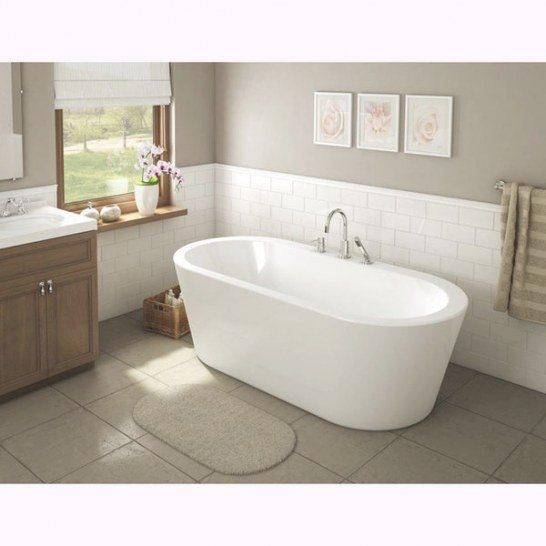 Una Pure Acrylic 71-Inch All-In-One Oval Freestanding Tub within Free Standing Tub Shower