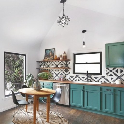 Unexpected Colorful Kitchens | Eclectic Kitchen, Teal with Teal And White Kitchen