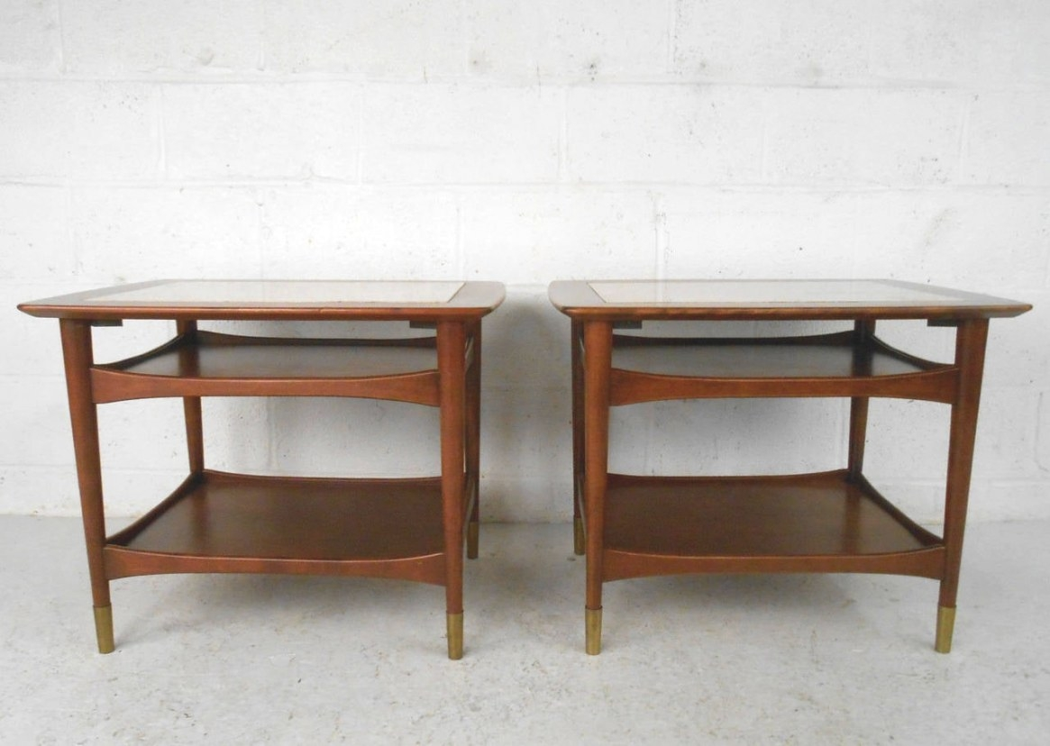 Unique Mid-Century Modern Walnut And Marble Side Tables regarding Mid Century Modern Side Table