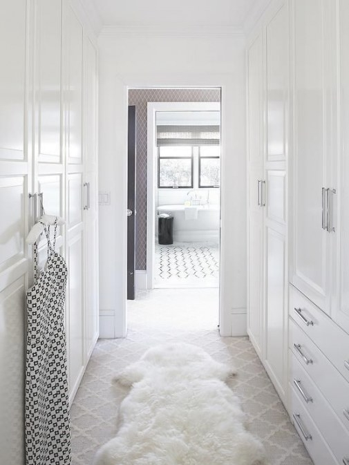 Urrutia Design - Closets - Benjamin Moore - Super White regarding Walk Through Closet To Bathroom