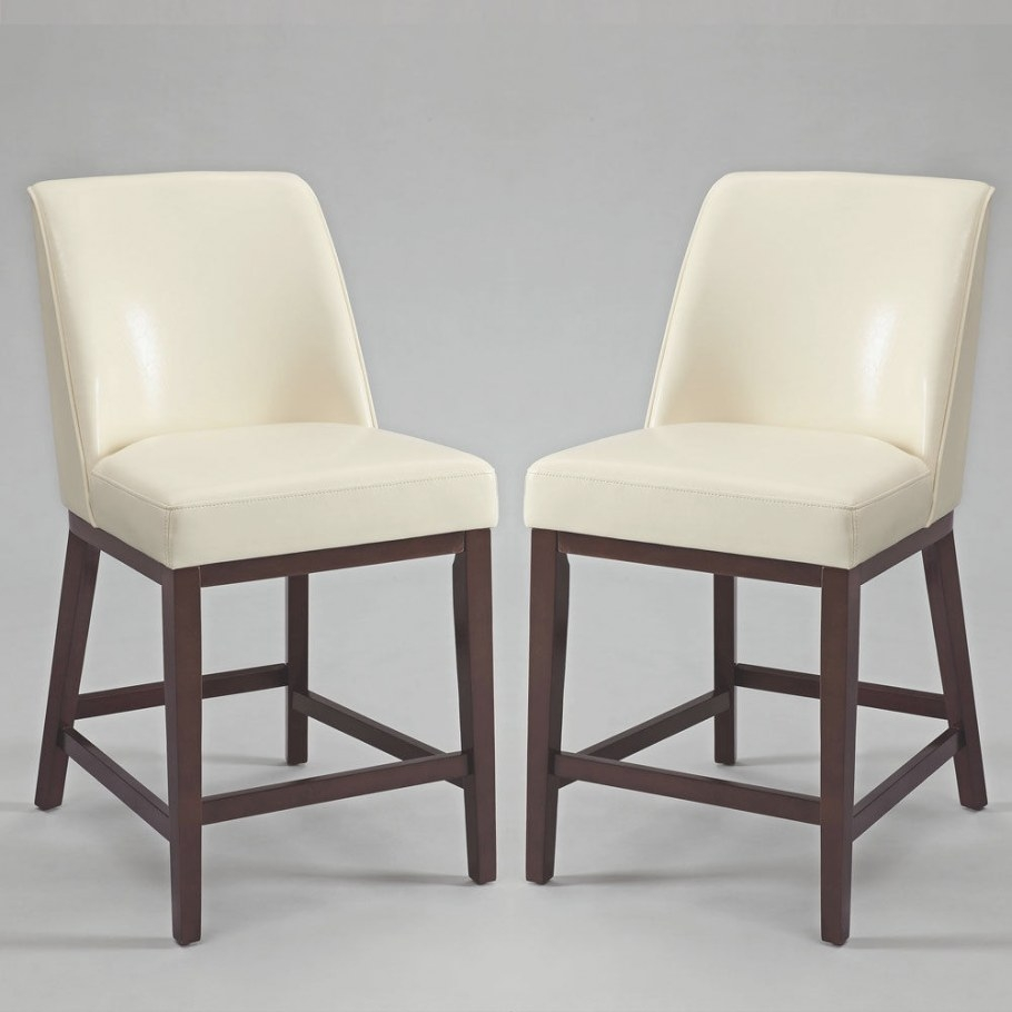 Valor Set Of 2 Counter Height Bar Stools Chairs Ivory Pu pertaining to Counter Height Bar Stools