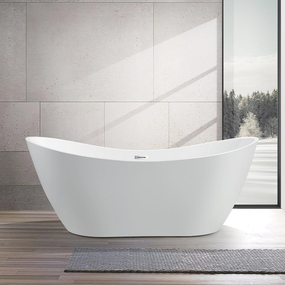 Vanity Art Mulhouse 71 In. Acrylic Flatbottom Freestanding within Free Standing Tub Shower
