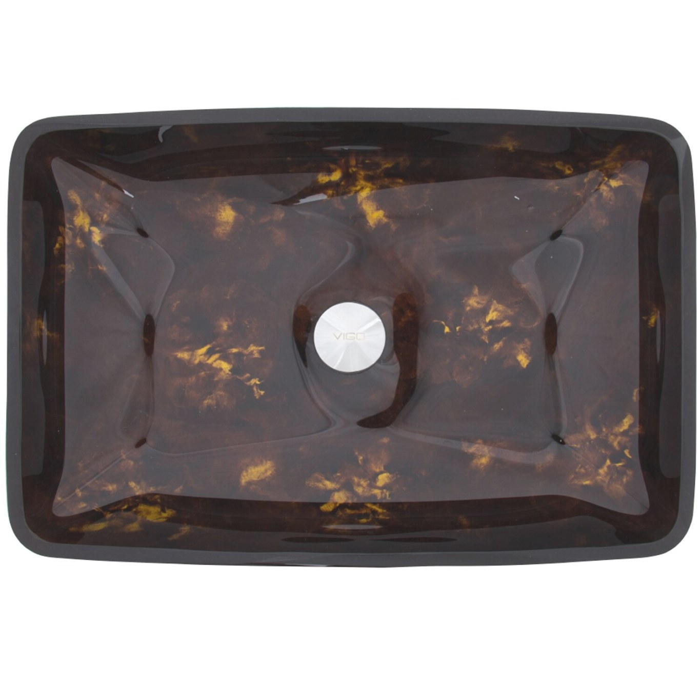 Vigo Rectangular Brown And Gold Fusion Glass Vessel in Brown And Gold Bathroom