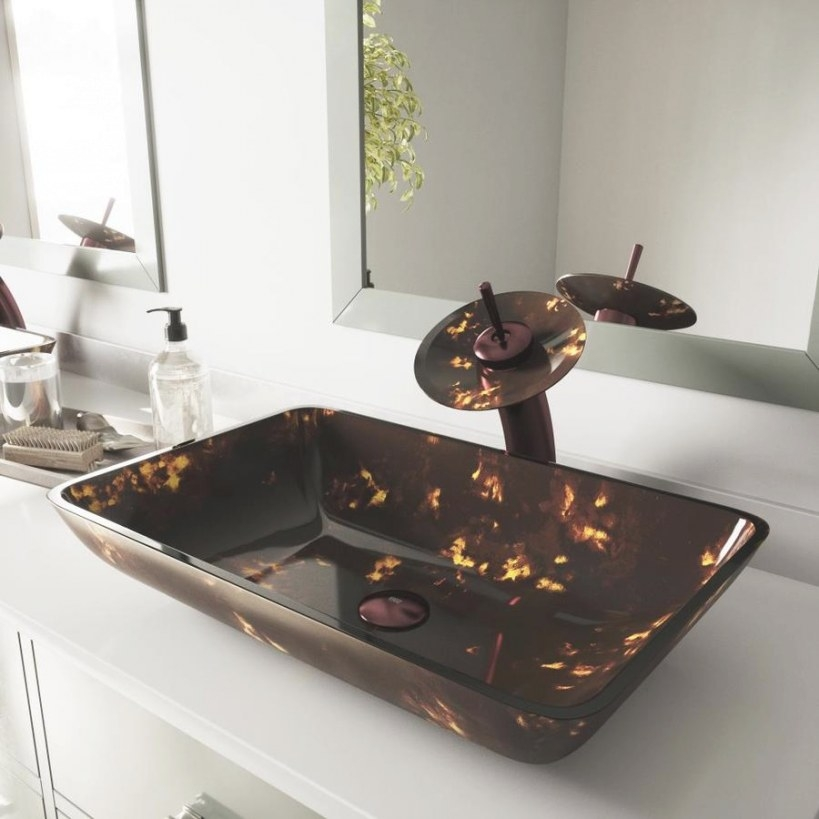 Vigo Vessel Bathroom-Set Brown And Gold Tempered Glass in Brown And Gold Bathroom
