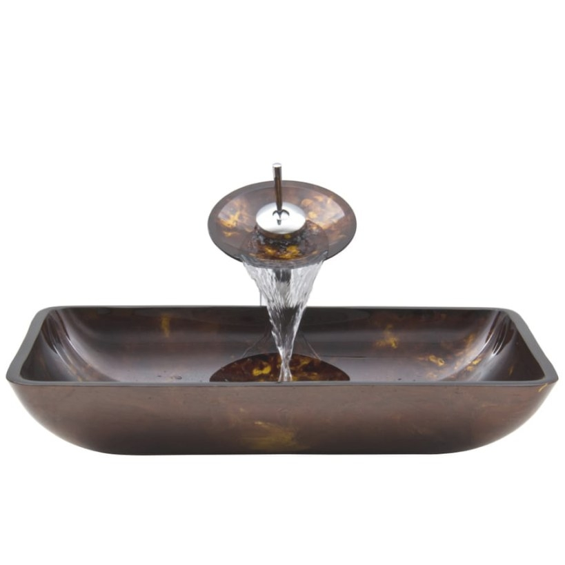 Vigo Vessel Bathroom-Set Brown And Gold Tempered Glass with Brown And Gold Bathroom