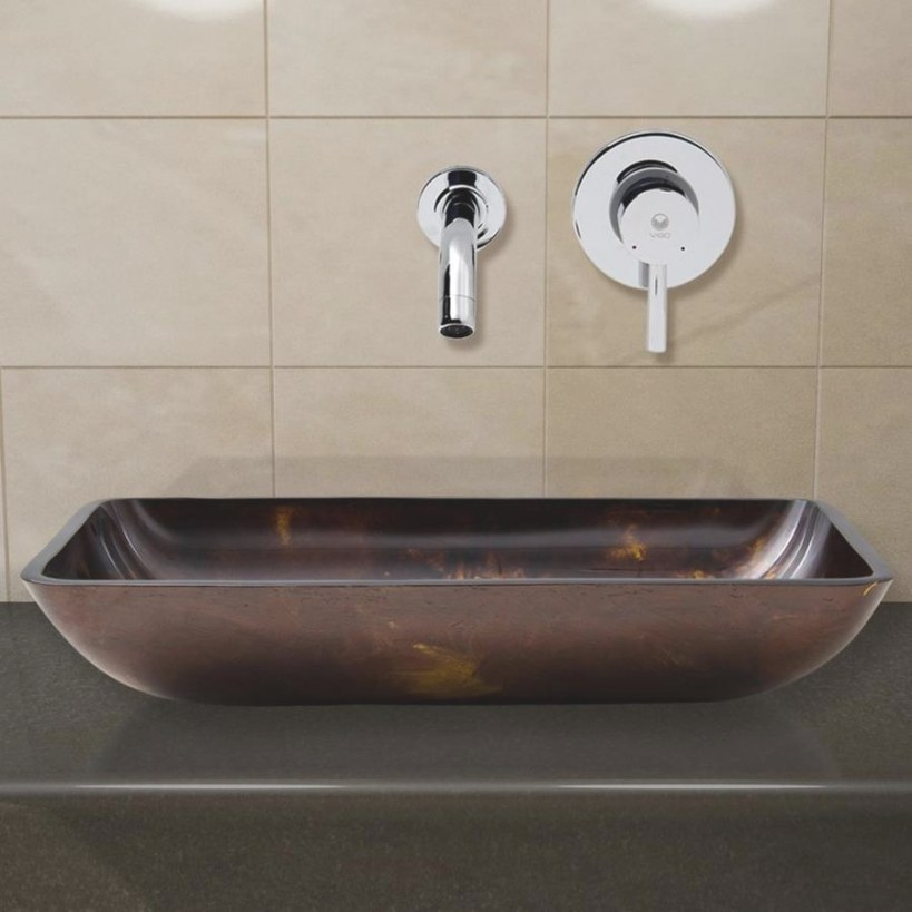Vigo Vessel Sinks Brown And Gold Fusion Glass Vessel within Brown And Gold Bathroom