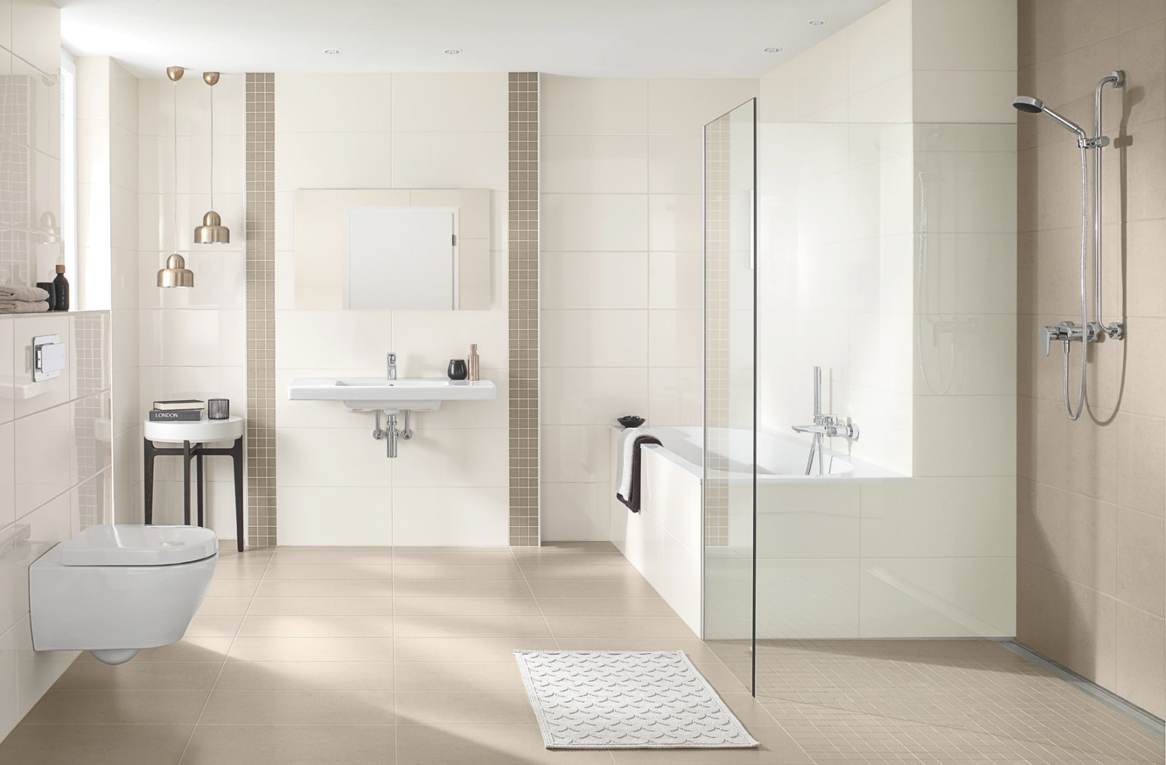 Villeroy & Boch White & Cream Tiles – Ideal Bathrooms & Tiles with regard to Cream And White Bathroom