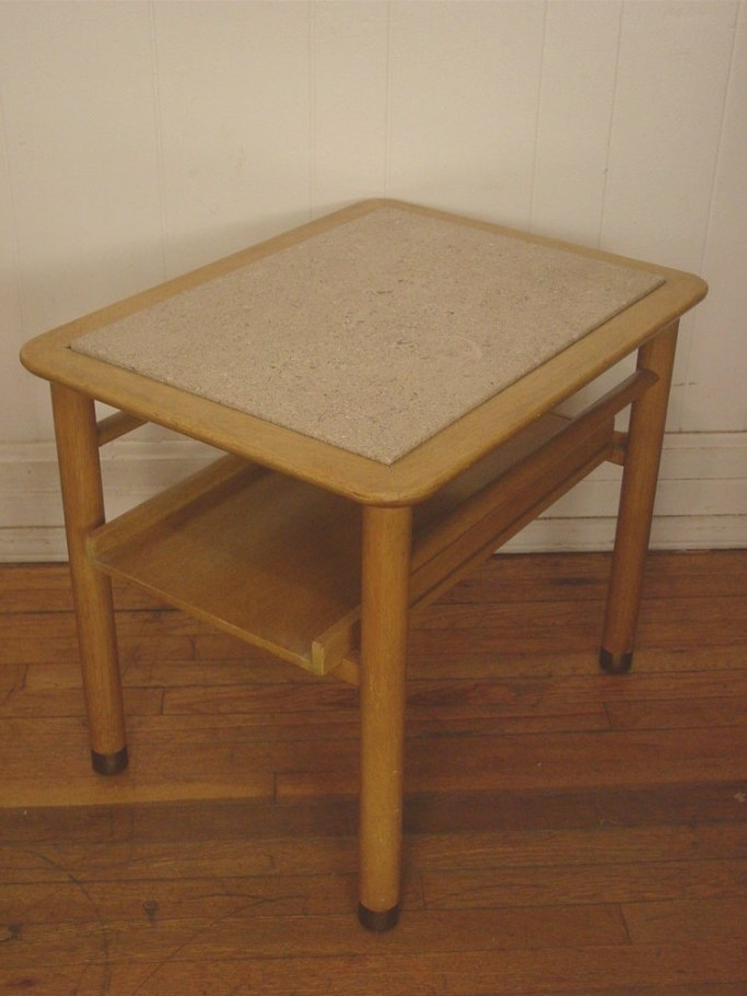 Vintage 1950S End Table With Travertine Marble Dunbar Era within Mid Century Modern Side Table