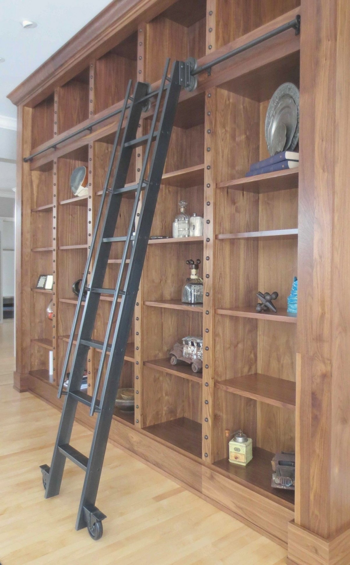 Vintage Black Library Ladder With Wooden Book Storage Set in Library Ladder In Kitchen