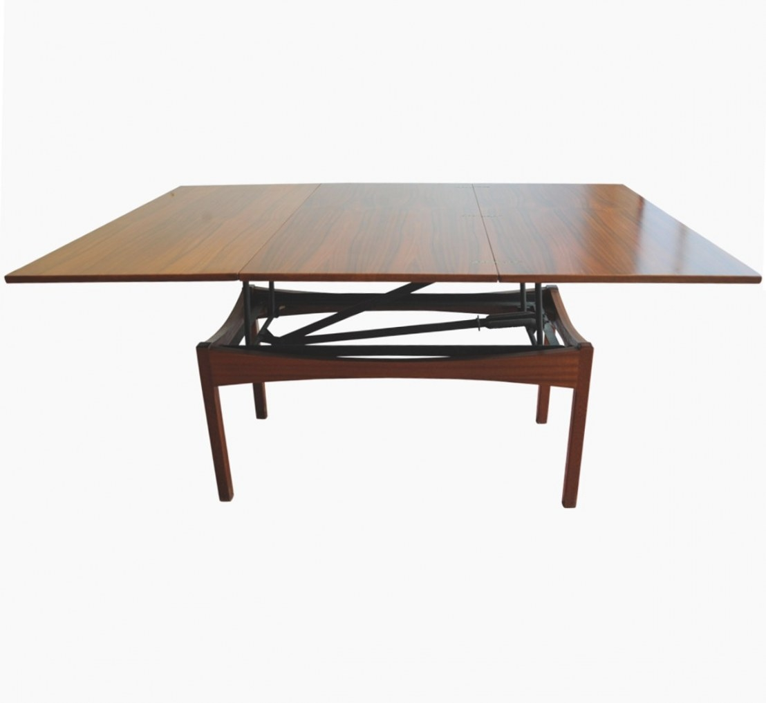 Vintage Height-Adjustable Rosewood Coffee Or Dining Table throughout Adjustable Height Coffee Table