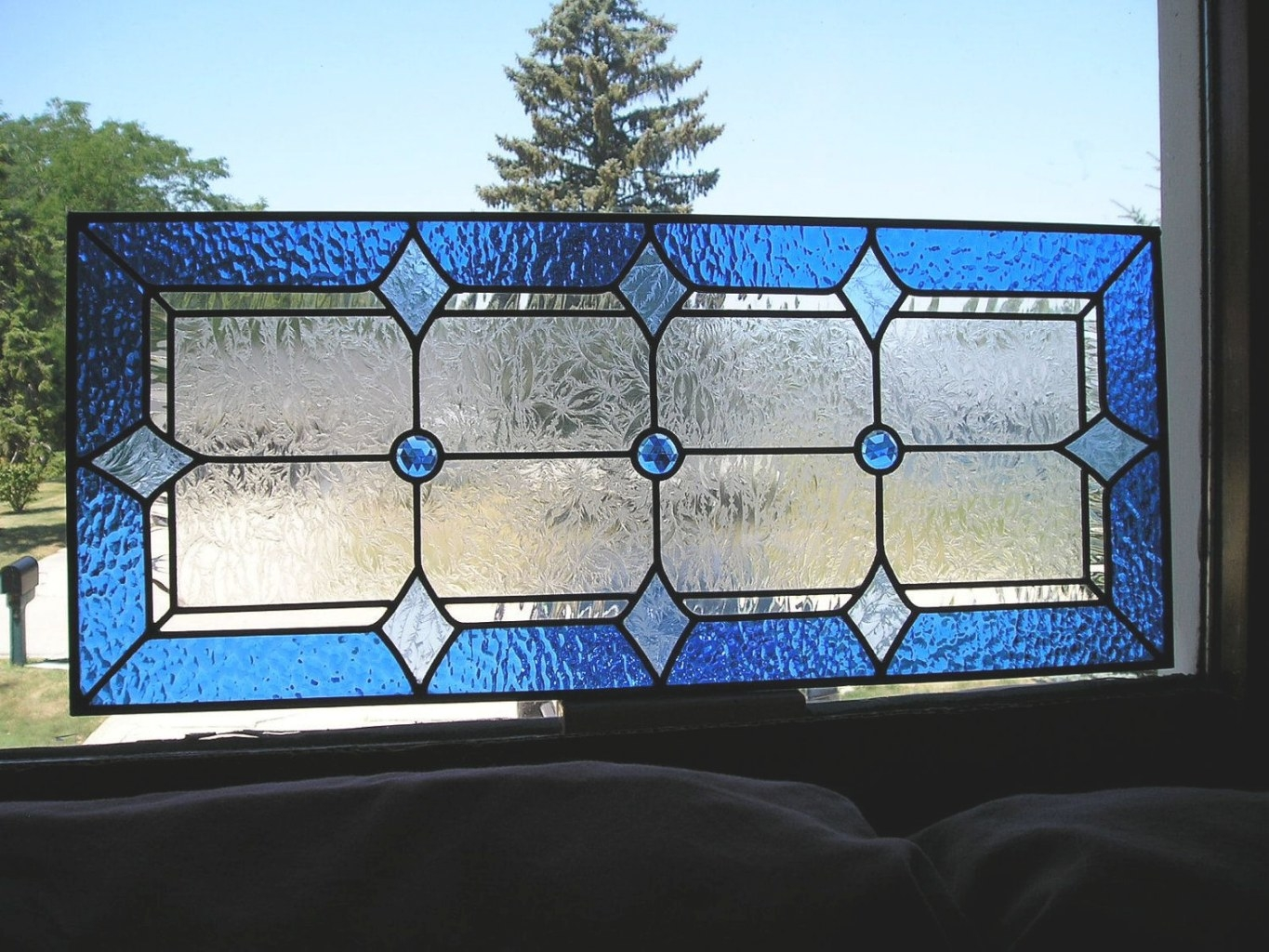 Vintage Stained Glass Window Blue 3 Jewel Craftsman Style with Craftsman Stained Glass Panel Collection