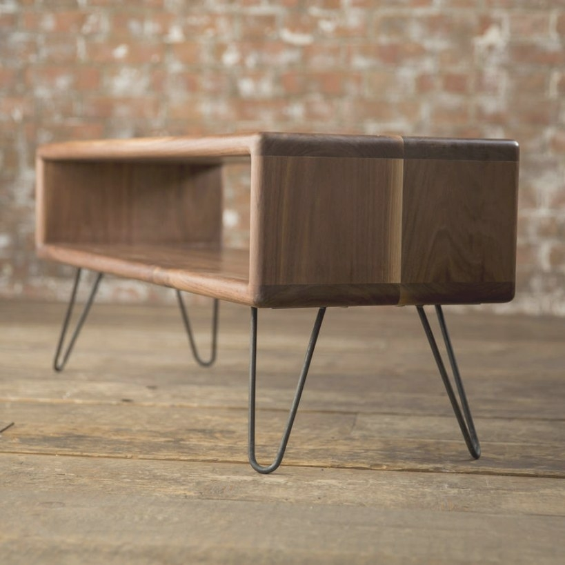 Walnut Midcentury Modern Hairpin Leg Tv Standbiggs throughout Mid Century Modern Tv Stand
