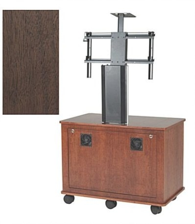 Walnut Tv Stands W/ Wheels | Portable Wood Veneer Media Carts in Tv Stand On Wheels