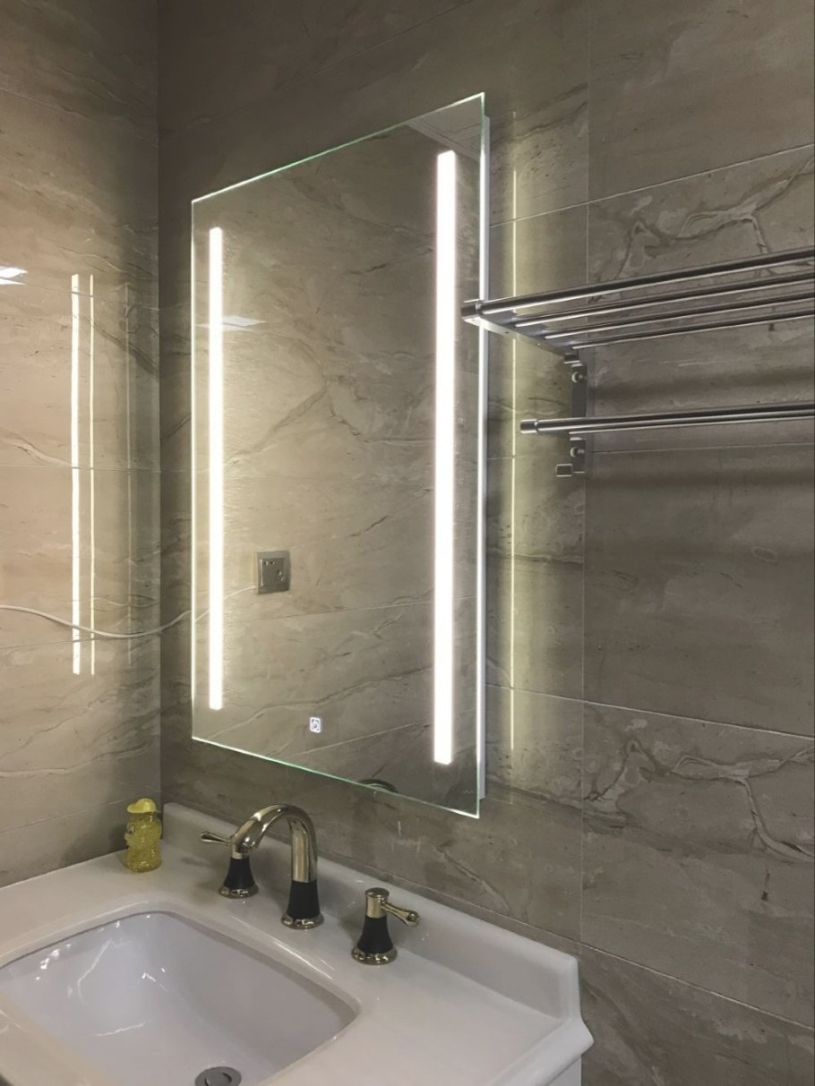 Waterproof Wall Mount Led Lighted Bathroom Mirror Vanity with regard to Led Lighted Mirrors Bathrooms