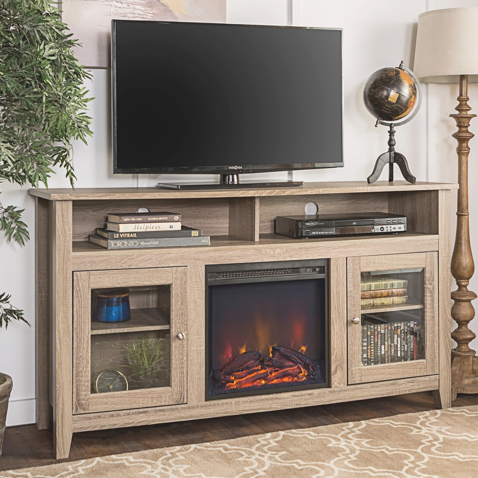 We Furniture 58-Inch Driftwood Highboy Fireplace Tv Stand with 80 Inch Tv Stand