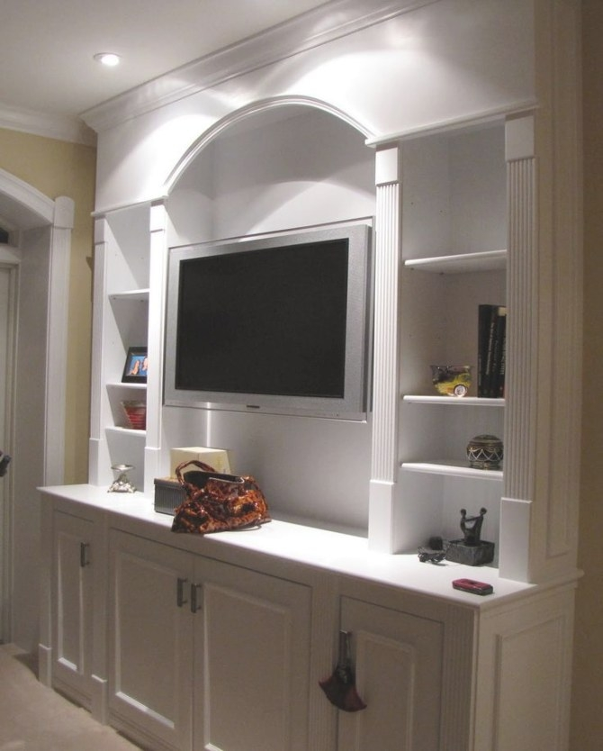 Well-Liked Curved Top With 4 Tier Open Shelves Bedroom regarding Wall Units For Bedroom