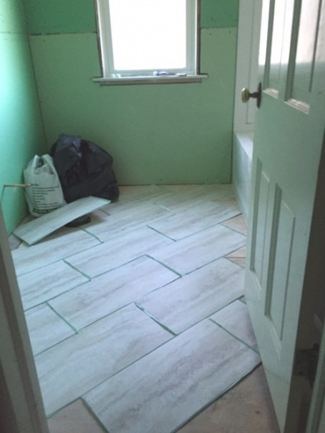 Which Direction Should I Lay The 12X24 Vinyl Tiles In Our inside 12X24 Tile In Small Bathroom