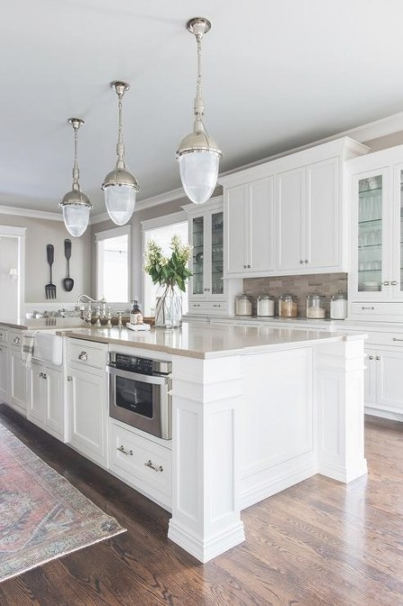 White And Beige Kitchen With Copper Accents - Transitional with White And Beige Kitchen