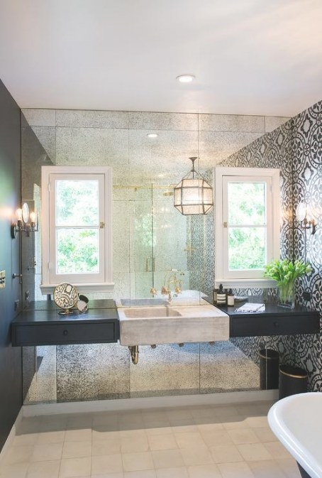 White And Black Bathroom With Antiqued Mirrored Accent regarding Accent Walls In Bathrooms