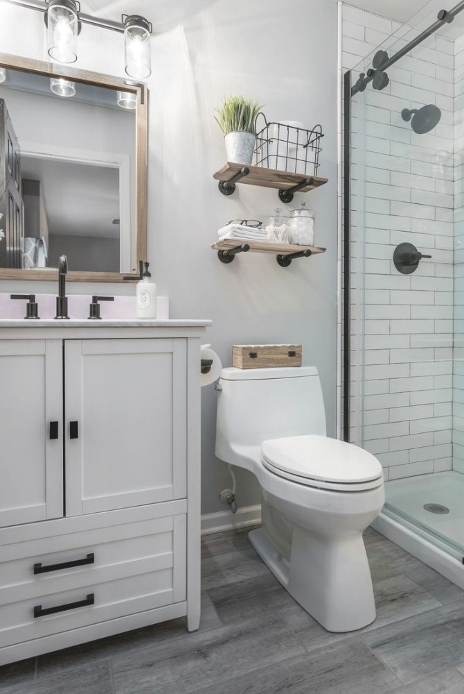 White And Black With Wood Accents In 2019 | Bathroom inside Pics Of Small Bathrooms