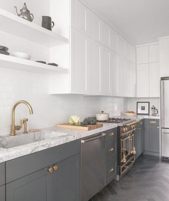 White And Gray Kitchen With Brass Harwdare - Contemporary within White And Gray Kitchens