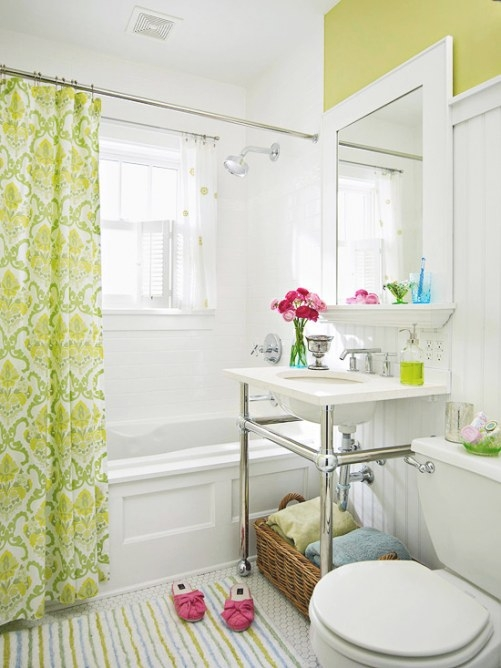 White And Green Bathroom - Traditional - Bathroom with Green Board In Bathroom