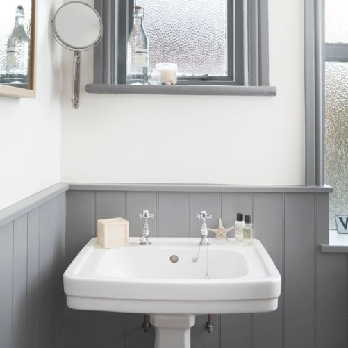White And Grey Bathroom With Traditional Basin | Bathroom throughout White And Grey Bathroom