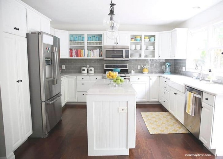 White And Grey Kitchen Makeover - I Heart Nap Time within Grey And White Kitchen