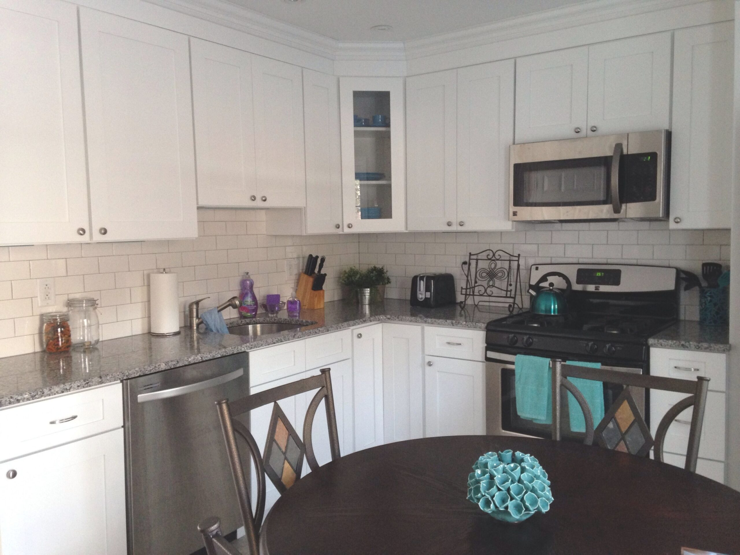 White/Grey Kitchen With Teal Accents. | Gray And White regarding Teal And White Kitchen