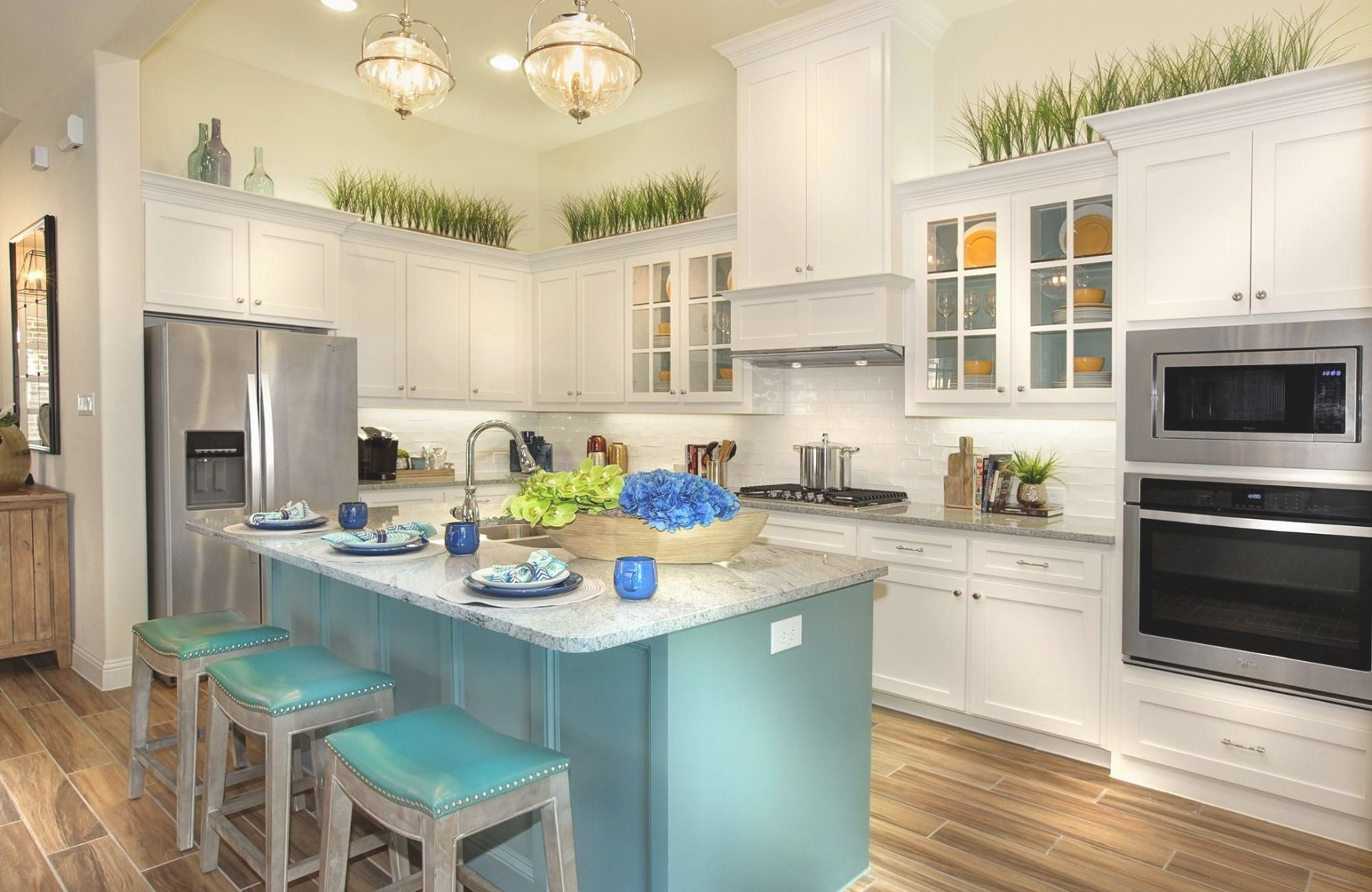 White Kitchen With Teal Accents | White Modern Kitchen regarding Teal And White Kitchen