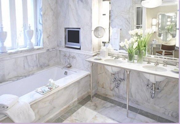 White Marble Bathroom - Transitional - Bathroom for White Marble Tile Bathroom
