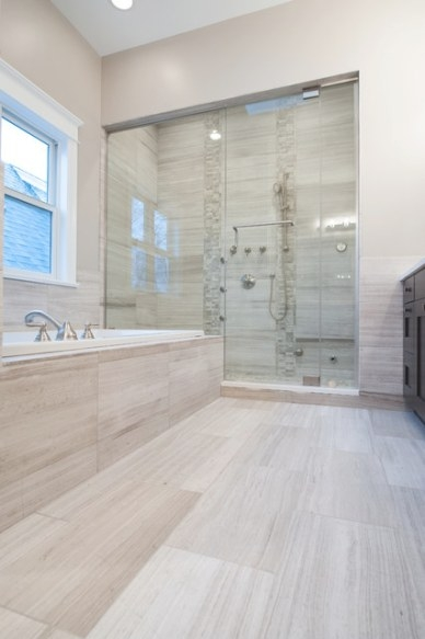 White Oak Honed Marble Bathroom - Contemporary - Bathroom with regard to White Marble Tile Bathroom
