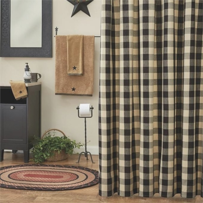 Wicklow Black Tan Check Fabric Shower Curtain | Black with Black And Tan Bathroom
