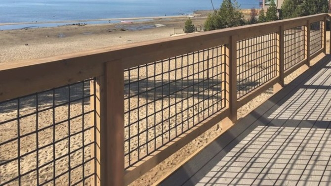 Wild Hog Metal Grid Railing Panels | Boston Cedar | Hog in Hog Wire Deck Railing
