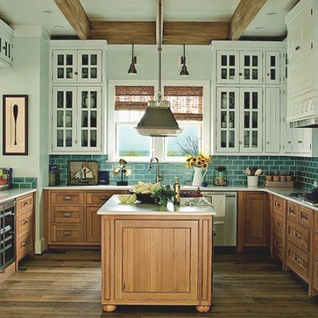 Wood Lower Cabinets, White Upper Cabinets With Glass throughout Teal And White Kitchen
