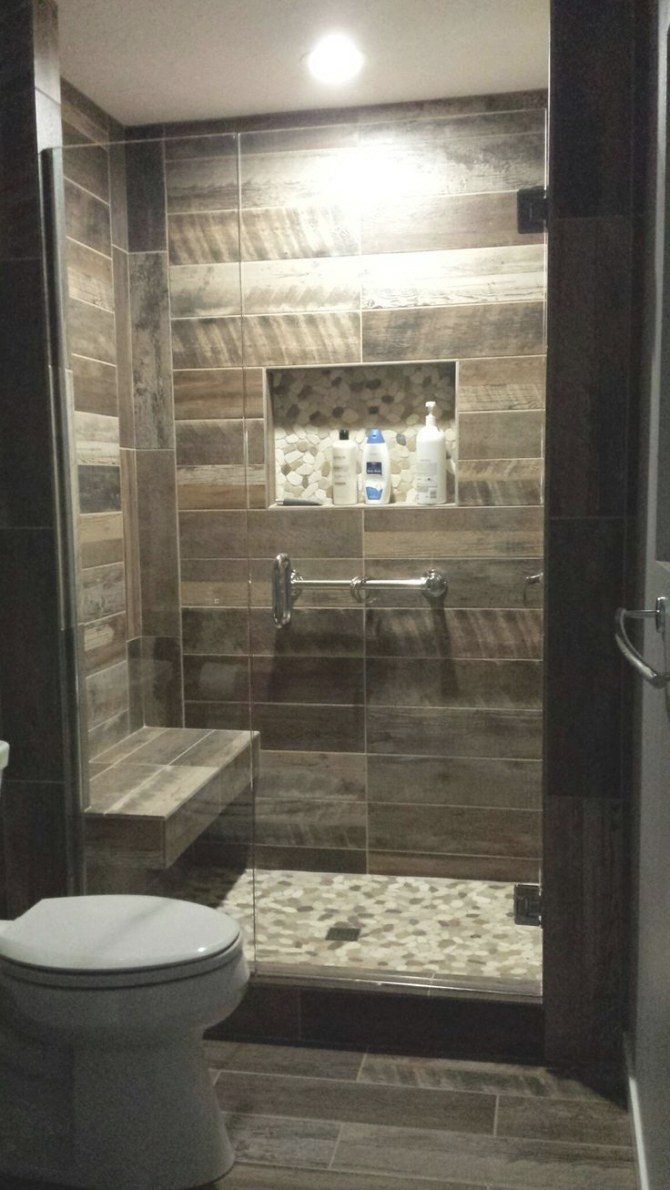 Wood Plank Tiled Shower Shower Seat Idea Pebble Floors And within Walk In Shower For Small Bathroom