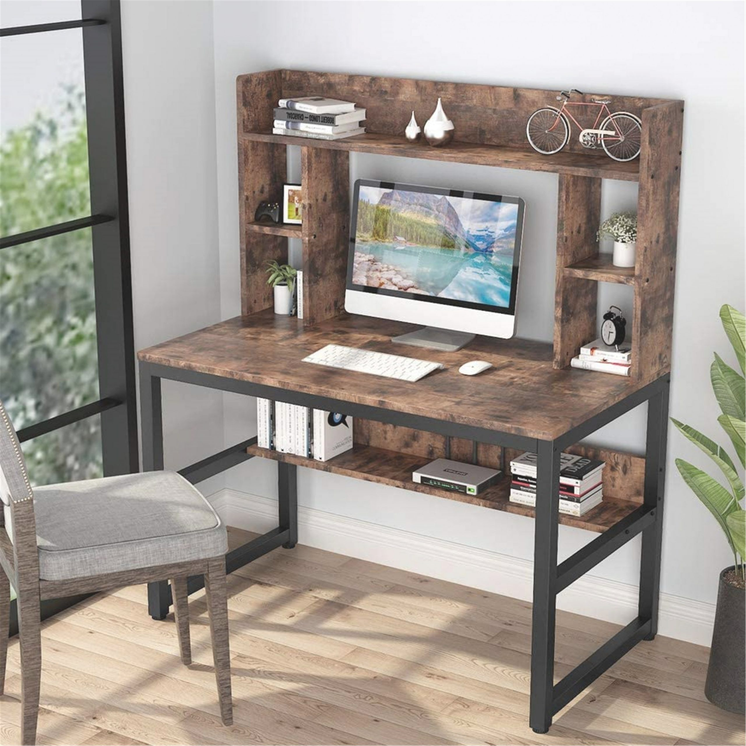 47 Inches Computer Desk With Hutch,writing Desk With Shelves intended for Writing Desk With Hutch